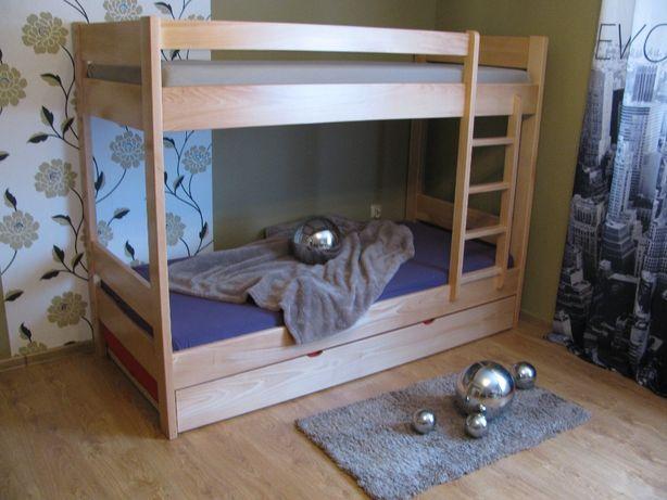 Dziecięce MASYWNE łóżko drewniane bukowe piętrowe-3 osobowe lity buk