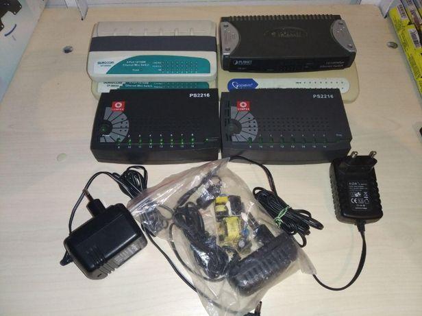 Коммутаторы Switch 4шт 8-ми портовые, 2 шт 16-ти портовые.
