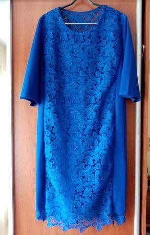 Платье 54 рр, тянется, стильное, большой размер, электрик, сукня