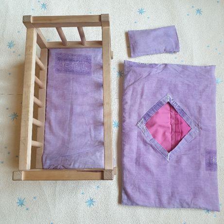 Кукольная деревянная кроватка 40*25*20 см постель, кровать