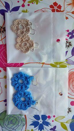Ręcznie robione kolczyki - szydełkowe kwiatki