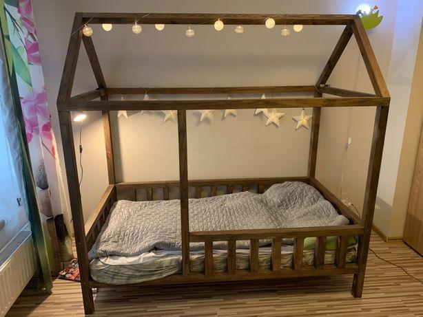 Łóżeczko domek 100 cm x 190 cm z materacem, DREWNO