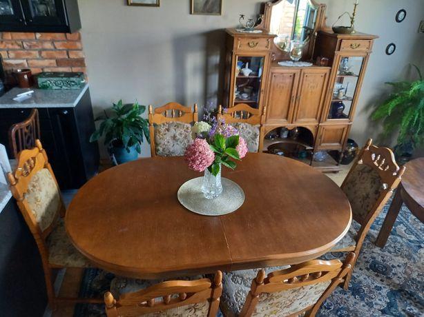 Stół drewniany okragły + 6 krzesel