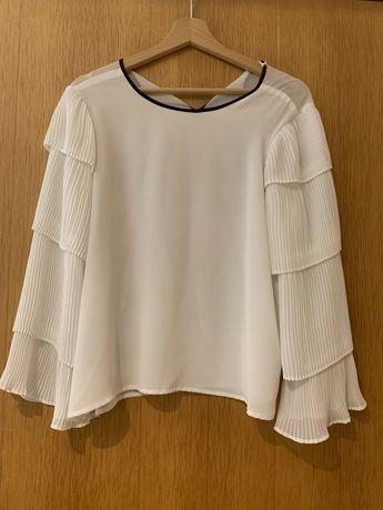 Blusa branca plissada Sfera tam. L