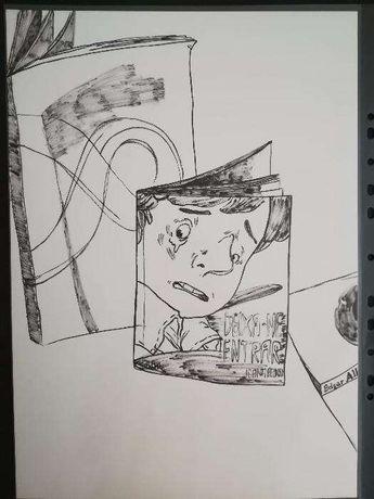 Desenho cego ilustração livros 9 tinta-da-china -A3 (29,7 x 42 cm)