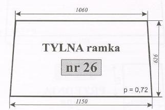 Szyba tylna Ursus 1604 , (1201) Typ 1204 Kunów, C-385 stary typ ACX170