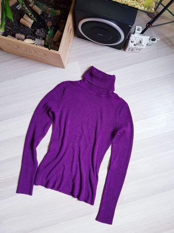 Яркая фиолетовая водолазка в рубчик шелк шерсть
