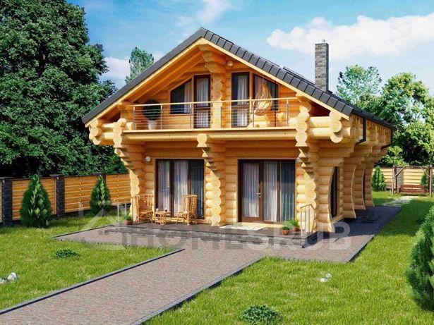 Дом со сруба та бані дома канадська рубка дикарь диаметром 24/28/32.