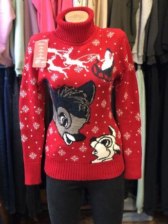 Новогодние свитера новорічні світера кофта женская теплая гольф шесть