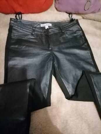 Spodnie czarne Skóra naturalna Róż XL Stan idealny