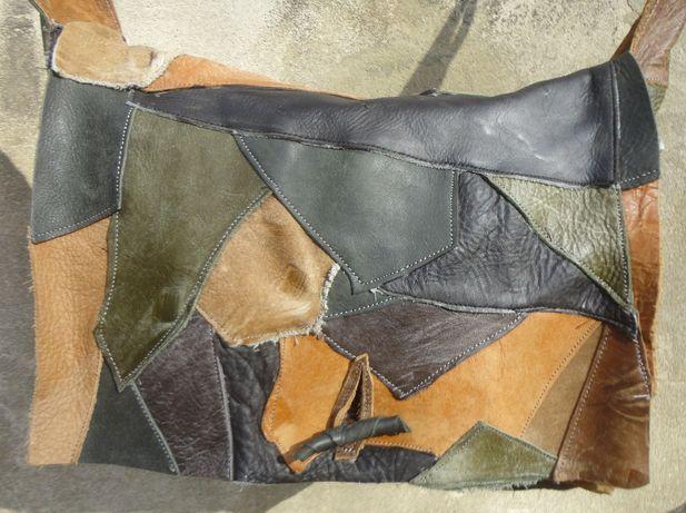 Artystyczna duża kolorowa torba - teczka skórzana.