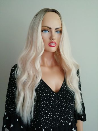 Peruka długa jasny blond
