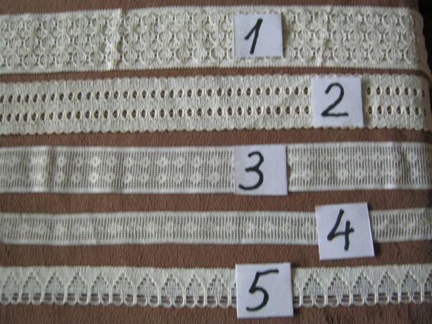 kolekcja koronek bawelnianych z domieszka syntet - ecru - na metry