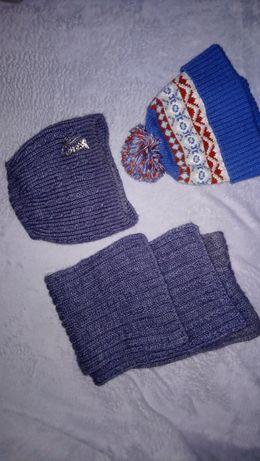 Б.у коплект шапка и шарф зимние + деми шапка