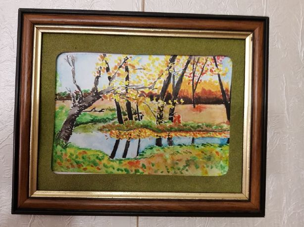 "Картина ""осень"" - акварель, в рамке 27х21,5см"