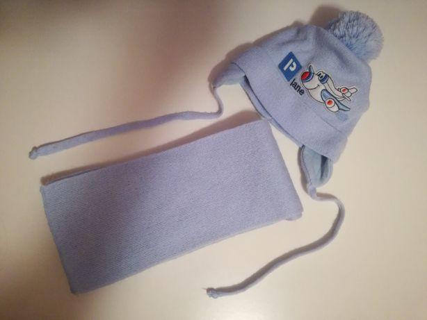 Komplet j.nowy czapka+szalik r.42-44