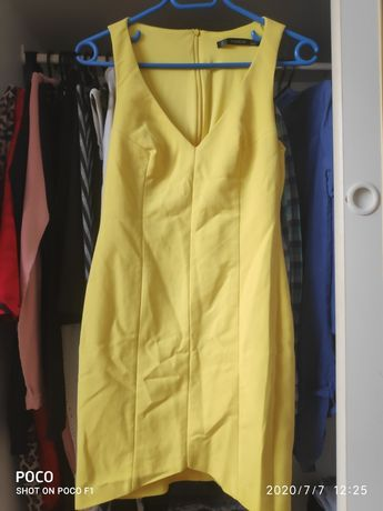 Zara dekolt v tulipan sexy żółta