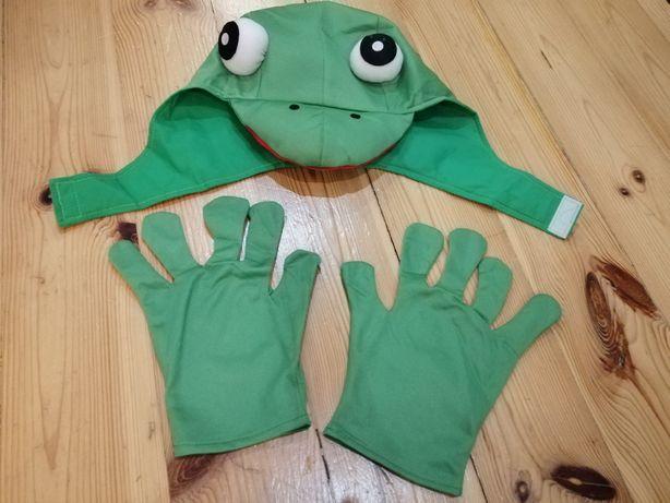 Strój bal karnawałowy teatr teatrzyk żaba czapka rękawiczki nowy S M
