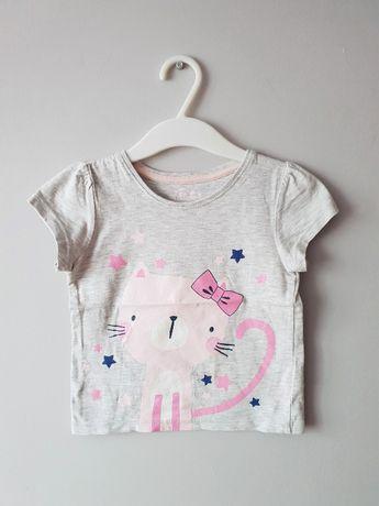 Słodka bluzeczka Made with Love 92 18-24M kotek szara krótki rękaw