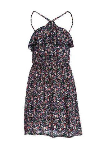 sukienka kwiaty 38 36 S M floral garnatowa z falbanką na lato halter