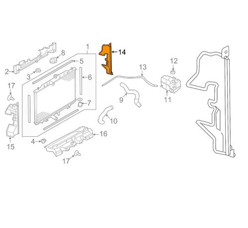 Воздуховод Панели Радиатора Nissan Rogue 2014-  215586FL2A  215596FL2A