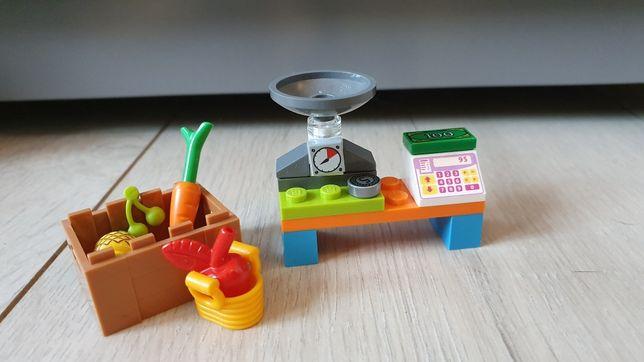 Klocki LEGO friends, warzywniak, owoce i warzywa, waga, kasa, saszetka