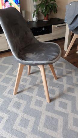 Krzeslo w stylu skandynawskim szary welur