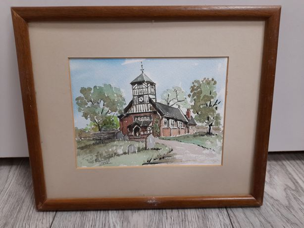 Malowany,sygnowany obraz kościół 26,5 na 22 cm