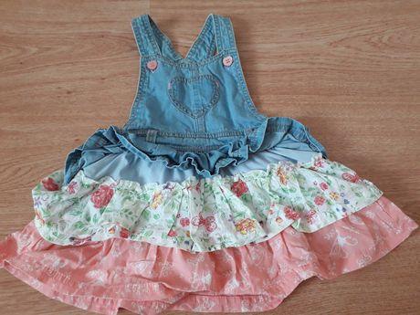 Sukienka ogrodniczka 68 dżinsowa jeansowa 68 Mothercare