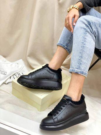 Женские кроссовки кеды Alexander McQueen На меху кожаные маквин зима