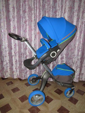 Детская коляска Stokke Xplory 2 в 1 Urban Blue v4 ярко голубая