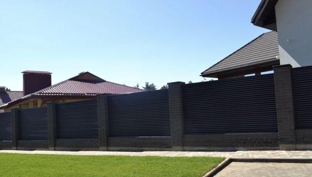 Забор, паркан, из металла, забор жалюзи, штакетник
