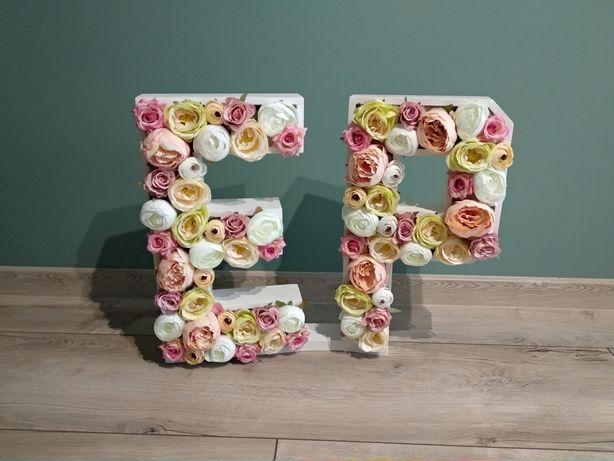 Litery kwiatowe inicjały wesele