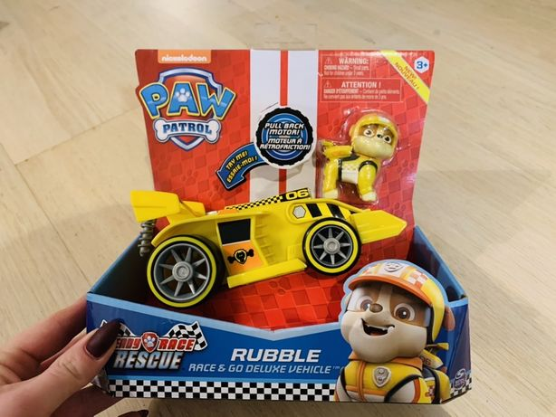 Autko z figurką Rubble Psi Patrol z serii Ready Race Rescue Deluxe dźw