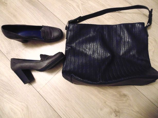 Torebka granat  i buty Tamaris skóra -R. 38