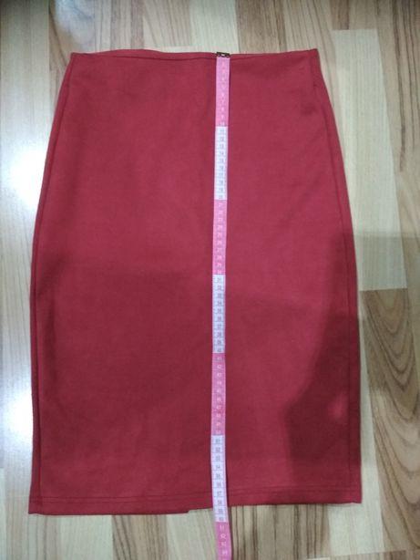 Spódnica ołówkowa czerwona do kolana