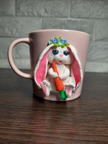 Чашка из полимерной глины с декором
