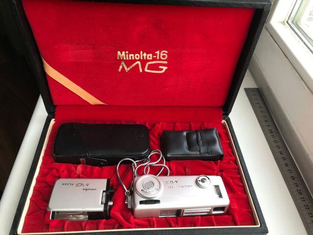 Мини камера фотоаппарат Minolta MG-16 футляр фотовспышка,кассета,чехол