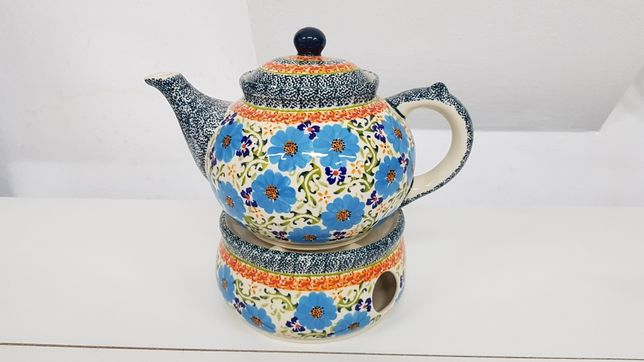 Dzbanek z podgrzewaczem ceramika Bolesławiec