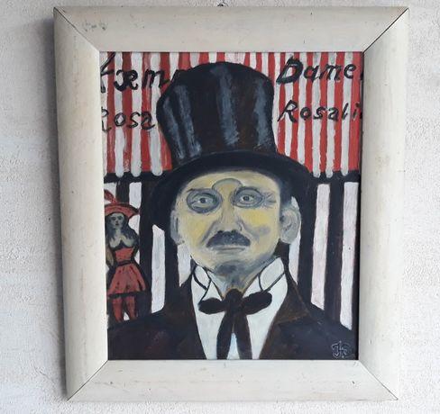 Portret stary obraz olej tektura sygnowany Olesen