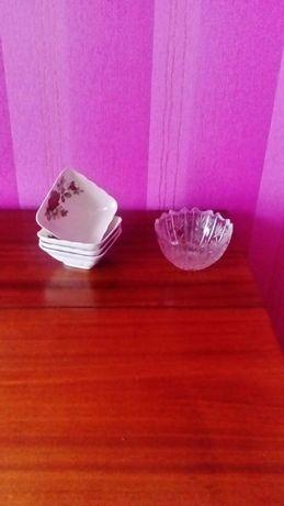 Хрустальная салатница, конфетница и пиалки