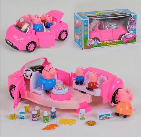 Машина - трансформер «Пикник со свинками» свинка, кабриолет,свет, звук