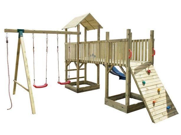 DWIE WIEŻE plac zabaw huśtawka ślizg drabinka lina i ścianka wspinacz.