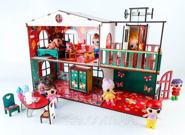 Кукольный деревянный домик с лифтом + комплект игрушечной мебели