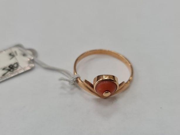 Koral! Wyjątkowy złoty pierścionek damski/ 585/ 1.95 gram/ R15