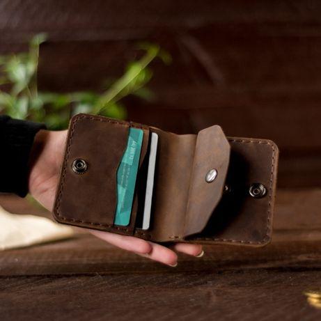 Кожаный кошелек, бумажник, купюрник, портмоне кожа для мужчины,подарок