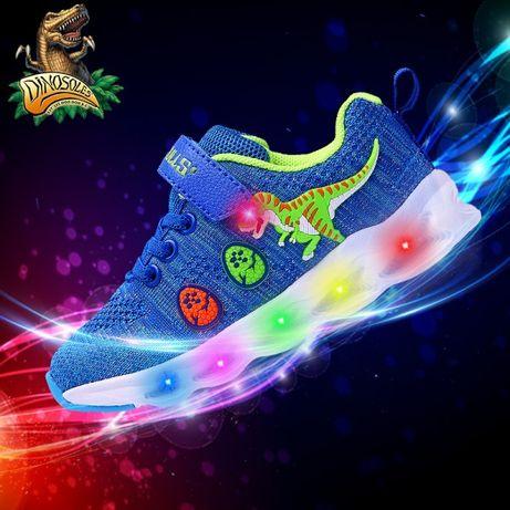 """Детские светящиеся кроссовки с 3D динозаврами """"Dinosoles"""", мигающие"""