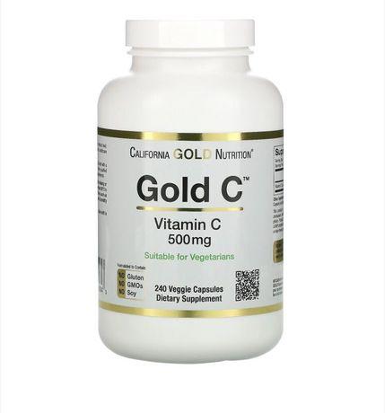 Gold C, витамин C, 500 мг, 240 растительных капсул,  в наличии