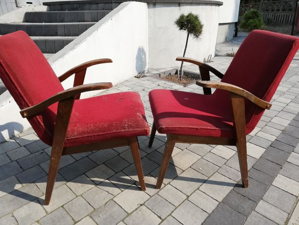 Fotel 4 szt PRL typ 300-137b projektu Mieczysława Puchały Chierowski
