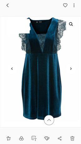 Sukienka zielona butelkowa zieleń koronka welur M